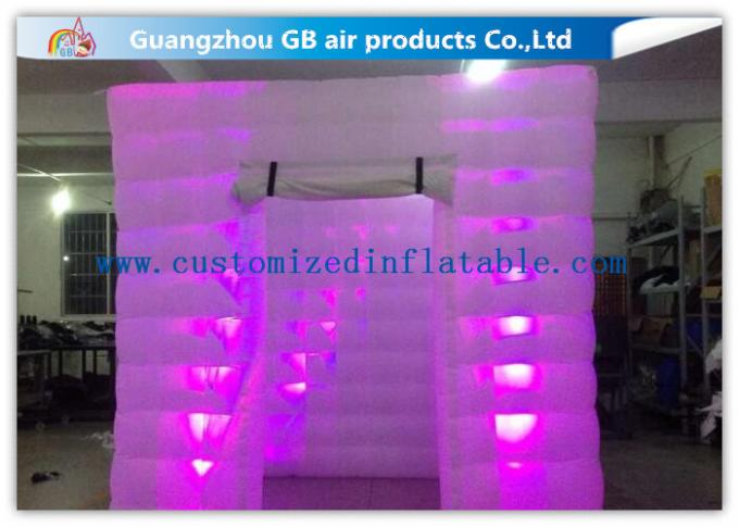 Popular Oxford Material Square Inflatable Photo Booth Kiosk Tent With Led