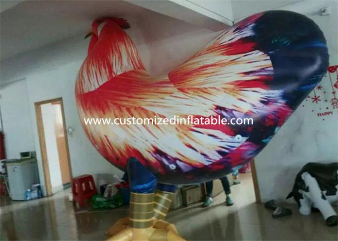 Outside Standing Inflatable Cartoon Characters PVC Rooster Animal Cock Model