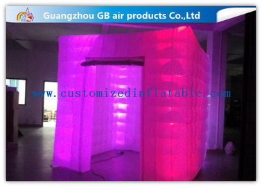 China Pink Portable Inflatable Photo Booth Enclosure LED lighting 16 Colors factory