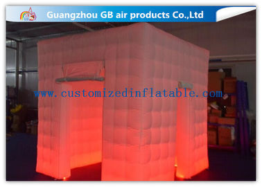China Popular Oxford Material Square Inflatable Photo Booth Kiosk Tent With Led factory