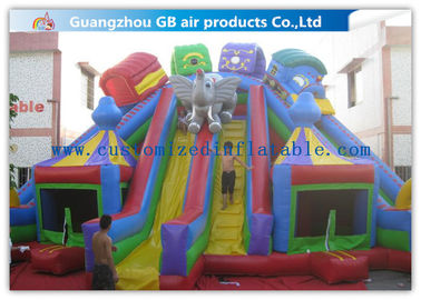 Funny Children Inflatable Amusement Park , Inflatable Bouncy Castle With Slide
