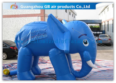 Lovely Blue Large Inflatable Elephant Inflatable Animals 0.45mm PVC For Exhibition